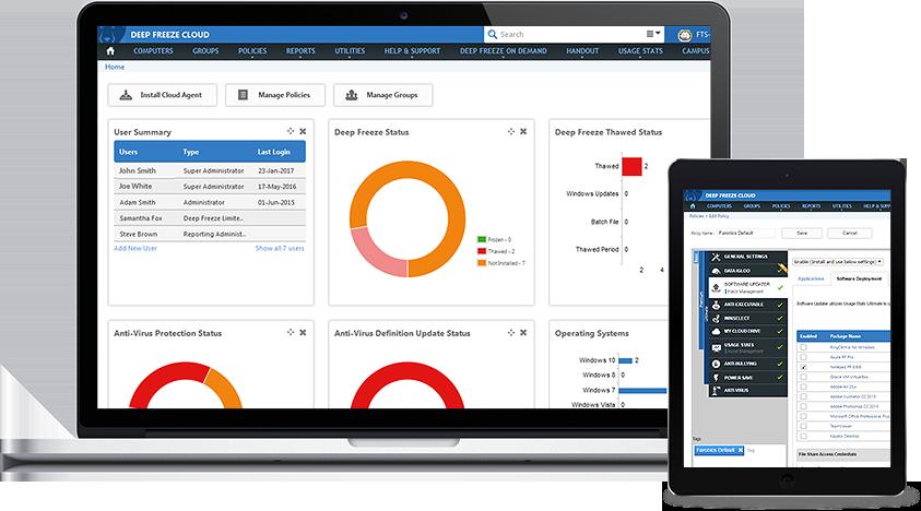 Deep Freeze Cloud proporciona una consola para proteger, actualizar y gestionar sus equipos.