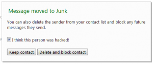 Hotmail new hacked account feature