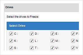 Eingefrorene Laufwerke auswählen
