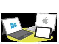 Ordenadores portátiles y tabletas de los estudiantes